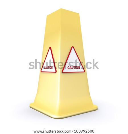 Caution Warning sign on a yellow cone