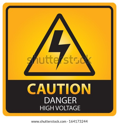 Caution with danger high voltage text and sign isolated.JPG - stock photo