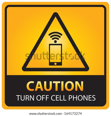 Caution with turn off cell phones text and sign isolated.JPG - stock photo