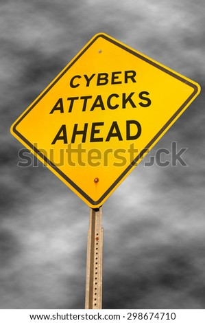 Caution yellow warning type American road sign that warns of cyber attacks ahead