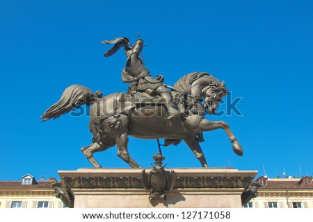 Caval ed Brons (Bronze Horse) monument in Piazza San Carlo, Turin