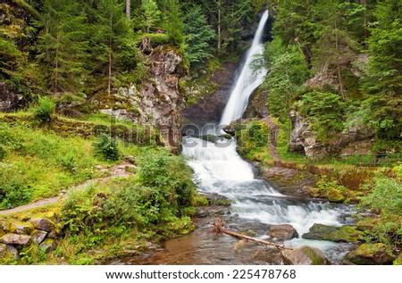 Cavalese waterfall, Trentino, Italy - stock photo