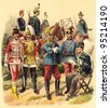 Cavalry Austria and Hungary / vintage illustration from Meyers Konversations-Lexikon 1897 - stock photo