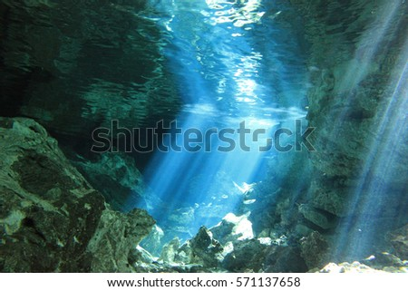 Cave and Cavern Scuba Diving in a sink hole or Cenote in the riviera Maya, Mexico