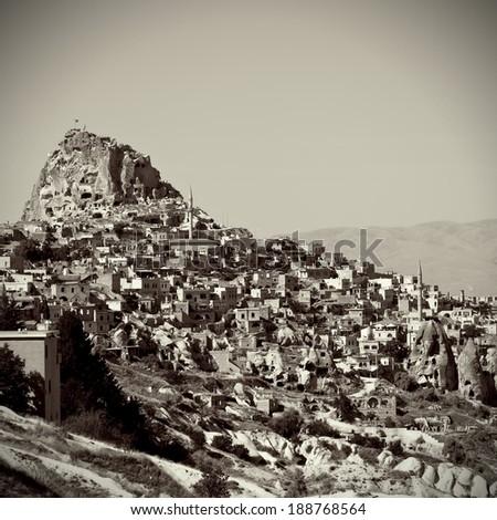 Cave city in Cappadocia, Turkey. Vintage retro style - stock photo
