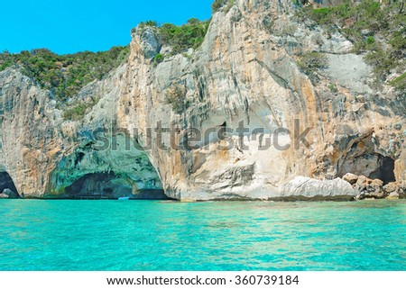 cave in Orosei Gulf seen from the sea, Sardinia - stock photo