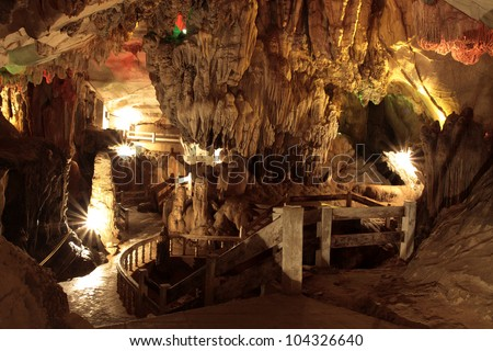 Cave is a beautiful, laos. - stock photo