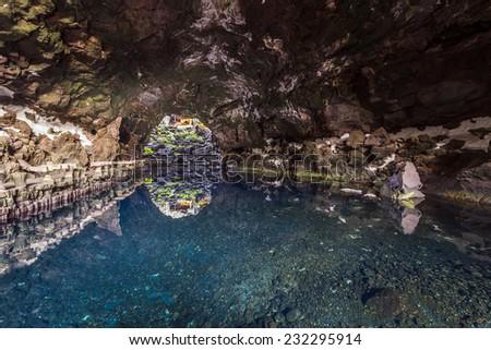 cave Jameos del Agua, Lanzarote, Canary Islands, Spain - stock photo