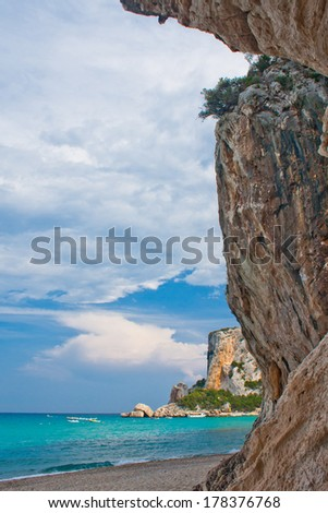 cave paradise blue sea and sky relaxation paradise on beach tourism tropical island  - stock photo