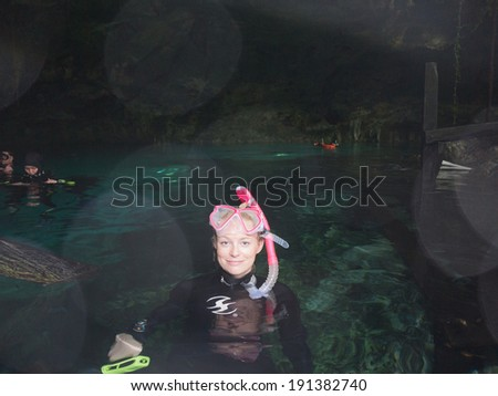 Cave snorkeling in mexico - stock photo