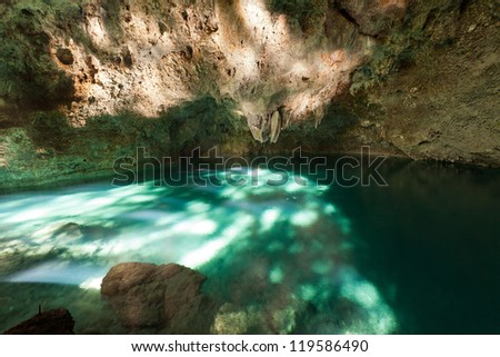 "Cave ""Three Eyes"" in Santo Domingo. The Dominican Republic - stock photo"