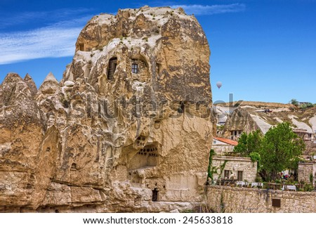 Cave town Goreme, Cappadocia, Anatolia, Turkey. - stock photo