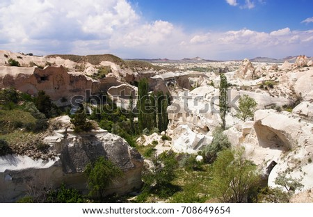 Cave town in the Red Valley. Cappadocia, Turkey.