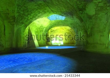Cave under the Castle of Schaffhausen in Switzerland - stock photo