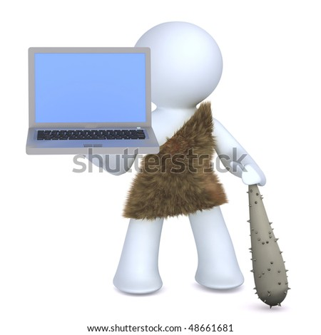 Caveman and technology - stock photo