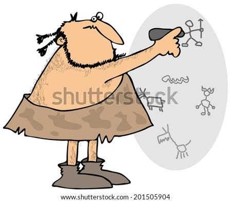 Caveman drawing on a wall - stock photo