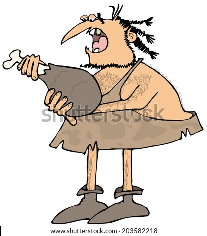 Caveman eating a large drumstick - stock photo