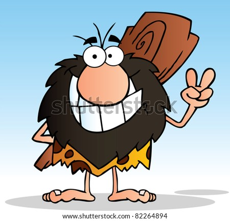 Caveman Gesturing The Peace Sign With His Hand.Raster Illustration.Vector version is also available - stock photo