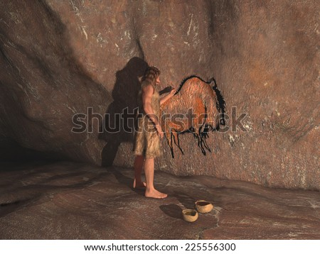 Caveman painting in a cave - stock photo