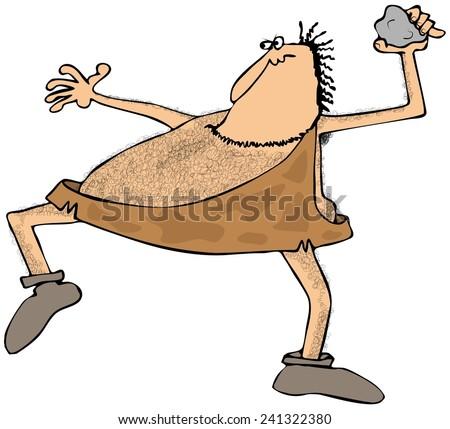 Caveman throwing a rock - stock photo
