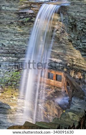 Cavern Falls At Watkins Glen State Park In New York At Sunrise - stock photo