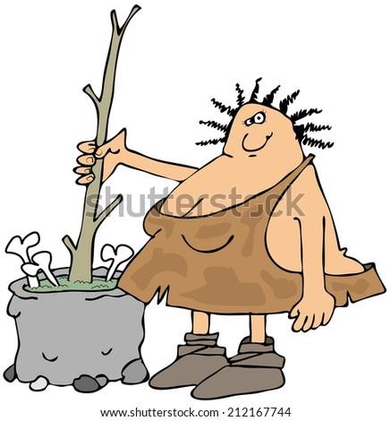 Cavewoman making soup - stock photo