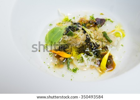 Caviar and algae haute cuisine salad - stock photo