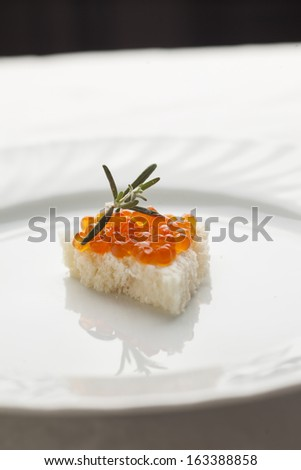 Caviar and rosemary on bread - Luxury and healthy sandvich