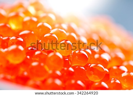 Caviar. Red caviar in spoon on a white background. Gourmet food close up, appetizer - stock photo