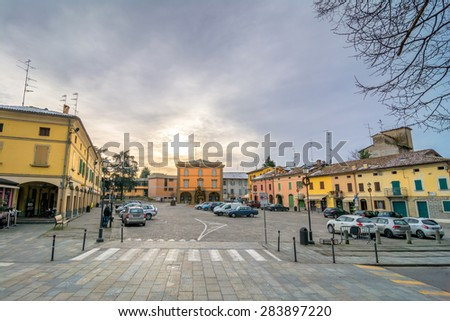 CAVRIAGO, ITALY - December 29, 2014: day view of main square in Cavriago, Italy. Cavriago is a people-friendly town in the middle of Emilia Romagna Region