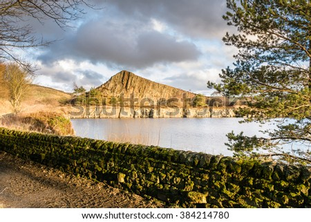 Cawfield Quarry on Hadrian's Wall / Cawfield Quarry is one of many sites on the Pennine Way walking trail - stock photo