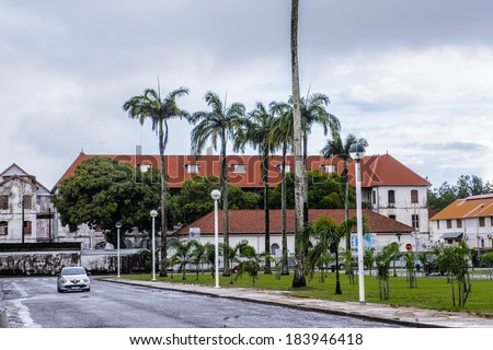 CAYENNE, FRENCH GUIANA - NOV 9, 2013: Architecture of the center of Cayenne, French Guiana. Cayenne was used as a French penal colony from 1854 to 1938.