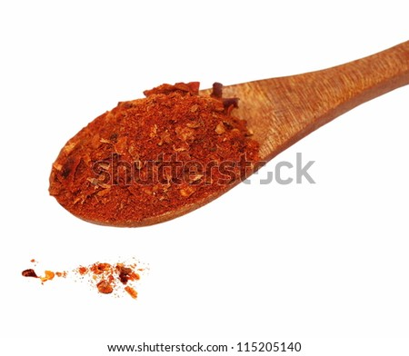 cayenne pepper and wooden spoon isolated on white background - stock photo