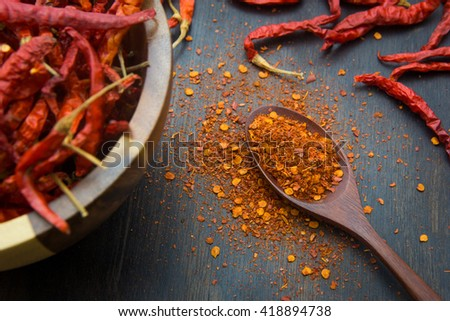 Cayenne pepper on the wooden floor - stock photo