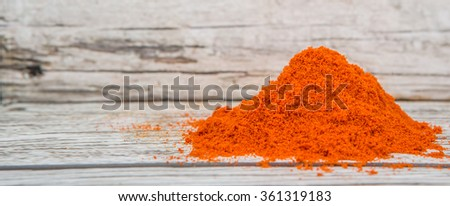 Cayenne pepper powder over wooden background