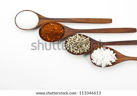 Cayenne pepper, salt and sugar. Arranged in a wooden spoon.