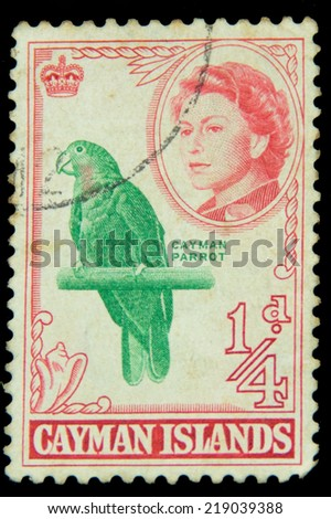 CAYMAN ISLANDS - CIRCA 1938 - Vintage postage stamp depicting Beach View and King George 6th inset circa 1938 - stock photo