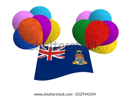 Cayman Islands flag balloon on the wind. Mulberry paper on white background. - stock photo
