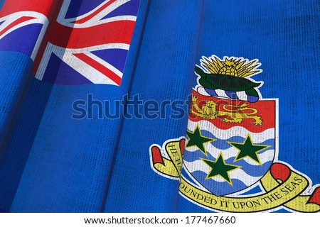 Cayman Islands Waving Canvas Flag. The Cayman Islands are a British Overseas Territory in the Western Caribbean Sea. 3D Flag Illustration. - stock photo