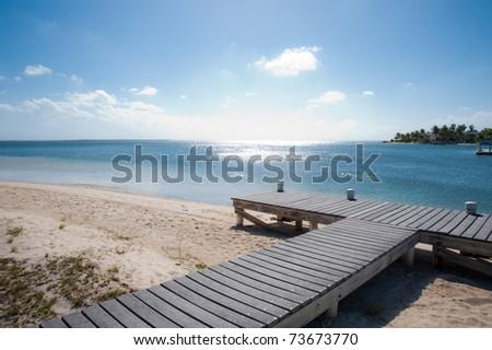 Cayman Kai Beach jetty, Grand Cayman - stock photo