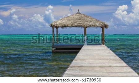 Cayman Ocean Dock - stock photo