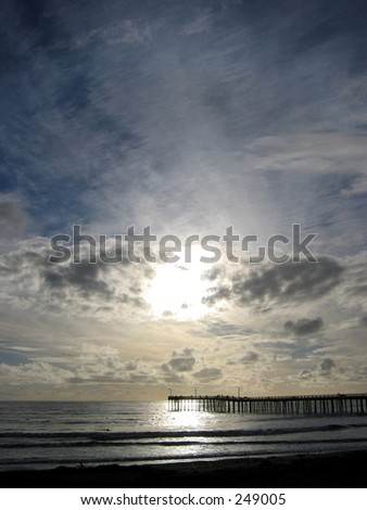 Cayucos Pier Sunset - stock photo