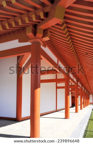 Ccorridor inside the Imperial Palace courtyard in Kyoto, Japan  - stock photo
