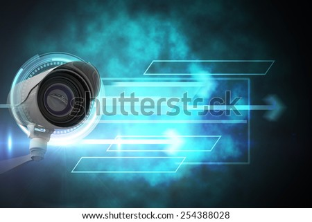 CCTV camera against blue and black technology dial design - stock photo
