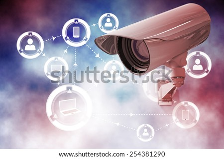 CCTV camera against online community background