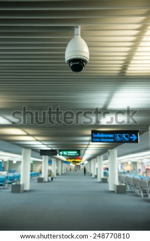 cctv camera hang on the ceiling - stock photo