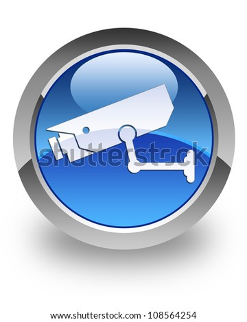 CCTV camera icon on glossy blue round button - stock photo