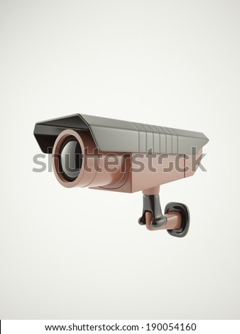 CCTV camera isolated on whte. 3D render.