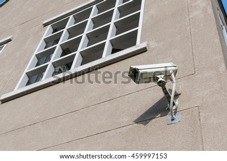 CCTV camera on the wall outside of building.