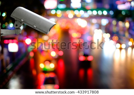 CCTV Camera on traffic road - stock photo